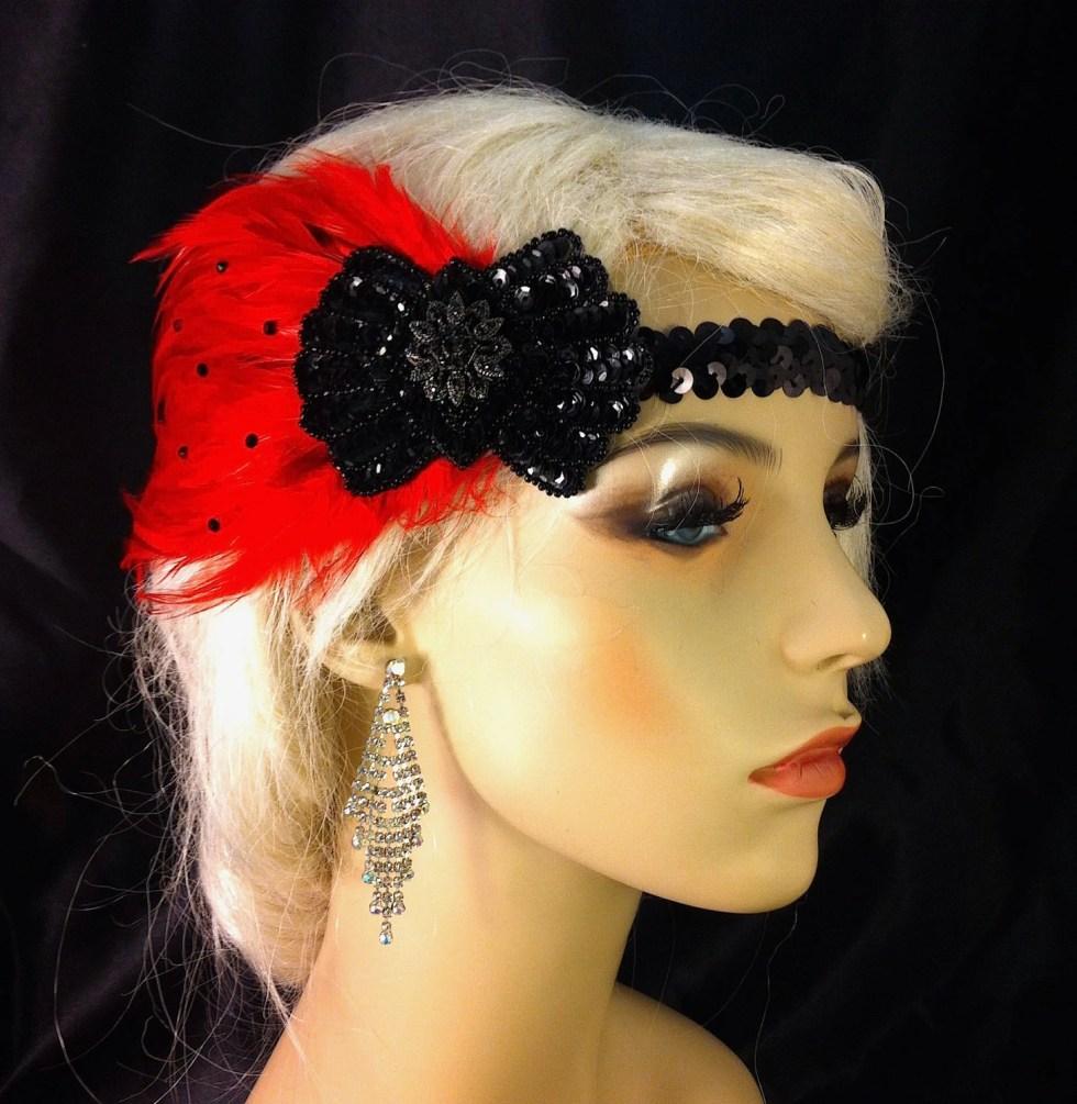Gatsby Headband, Flapper Headband, Downton Abbey, 1920s Head Piece, Art Deco Headband, Black and Red, Speakeasy