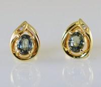 Natural Alexandrite and Diamond Earrings 14k Gold by StoweGems