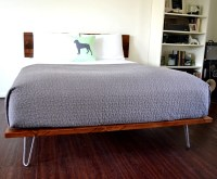 Platform Bed And Headboard On Hairpin Legs King Size Solid ...