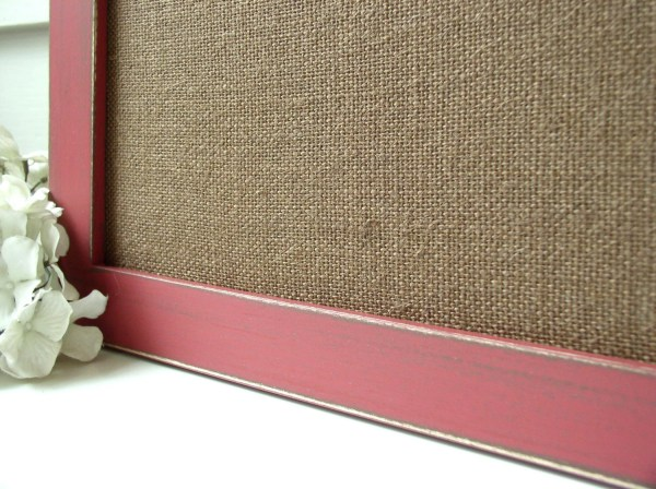 Rustic Burlap Bulletin Board Magnet Long Narrow