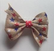 burlap hair bow red white blue