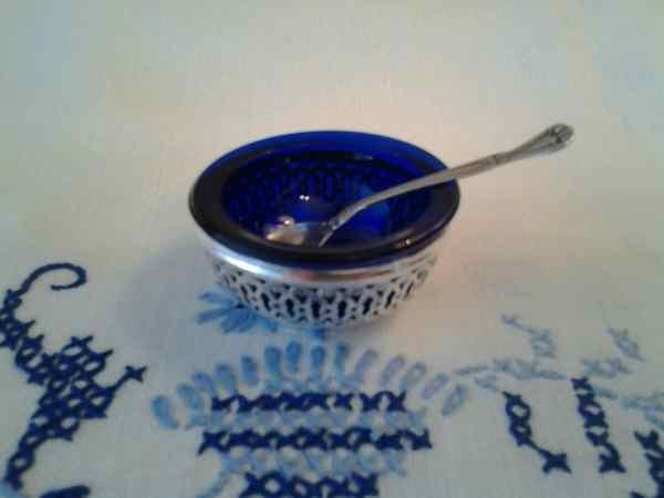 Vintage Sterling Silver Salt Cellar And Spoon Webster