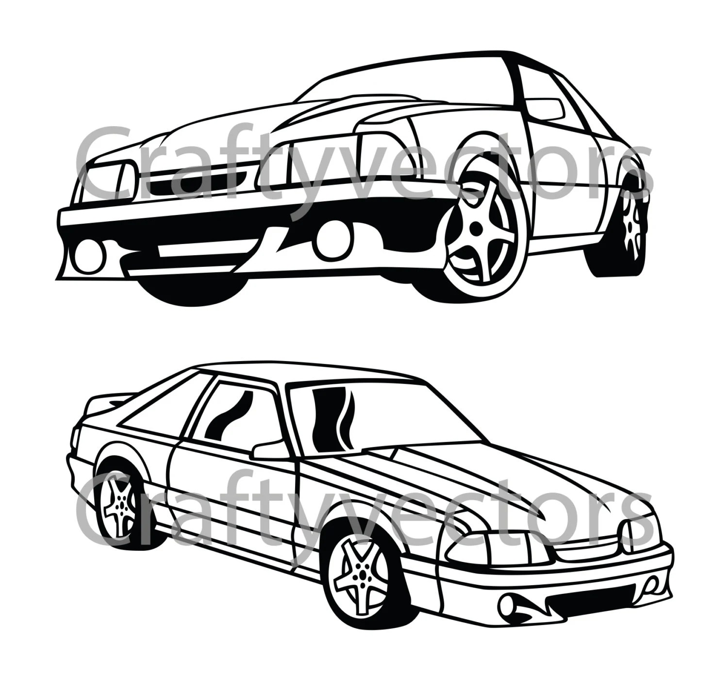 Custom File Ford Mustang Fox Body vector SVG cut by