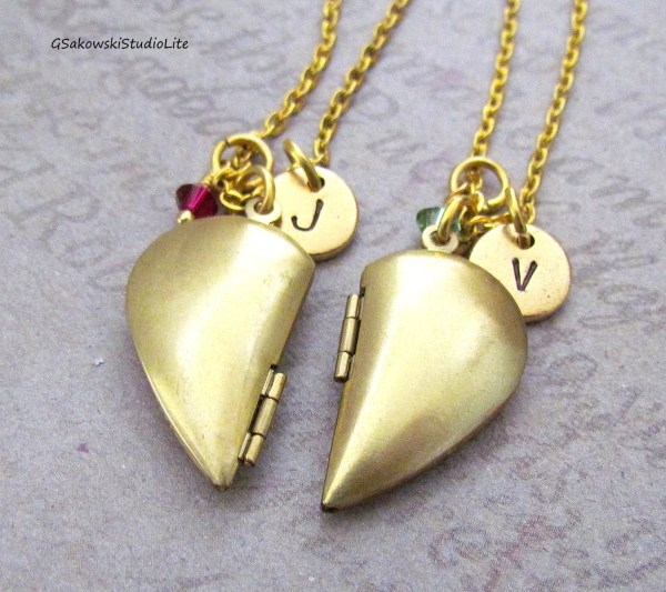 Heart Lockets Friends Necklaces Personalized Hand