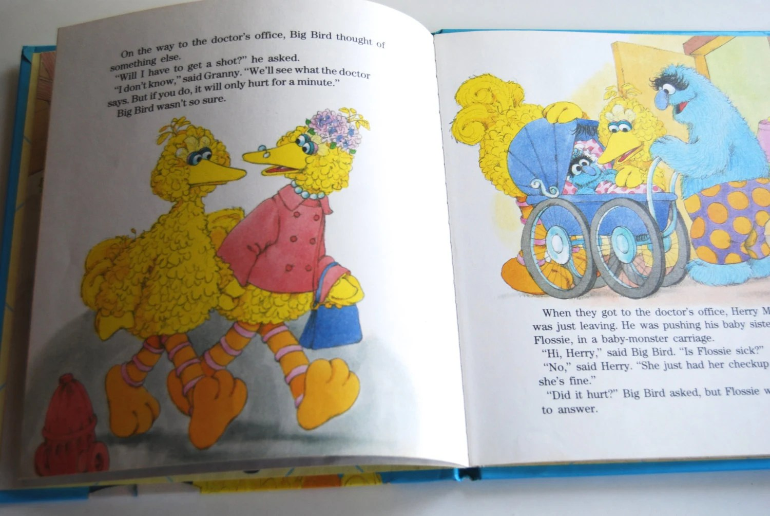 Vintage Childrens Book Big Bird Goes to the Doctor
