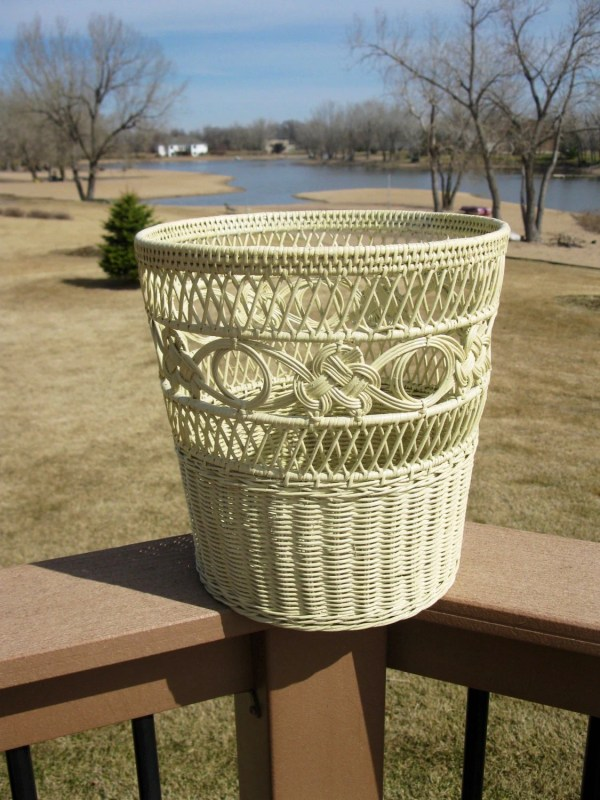 Vintage Painted Wicker Waste Basket White