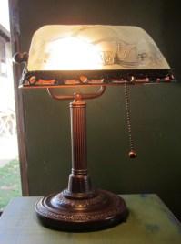 Vintage BANKER'S Desk LAMP Clear Glass by FunAndVintageFinds