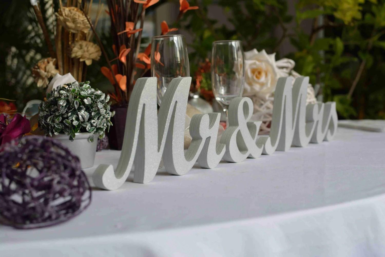 Light Gray Glitter Mr. & Mrs. Letters Wedding Table