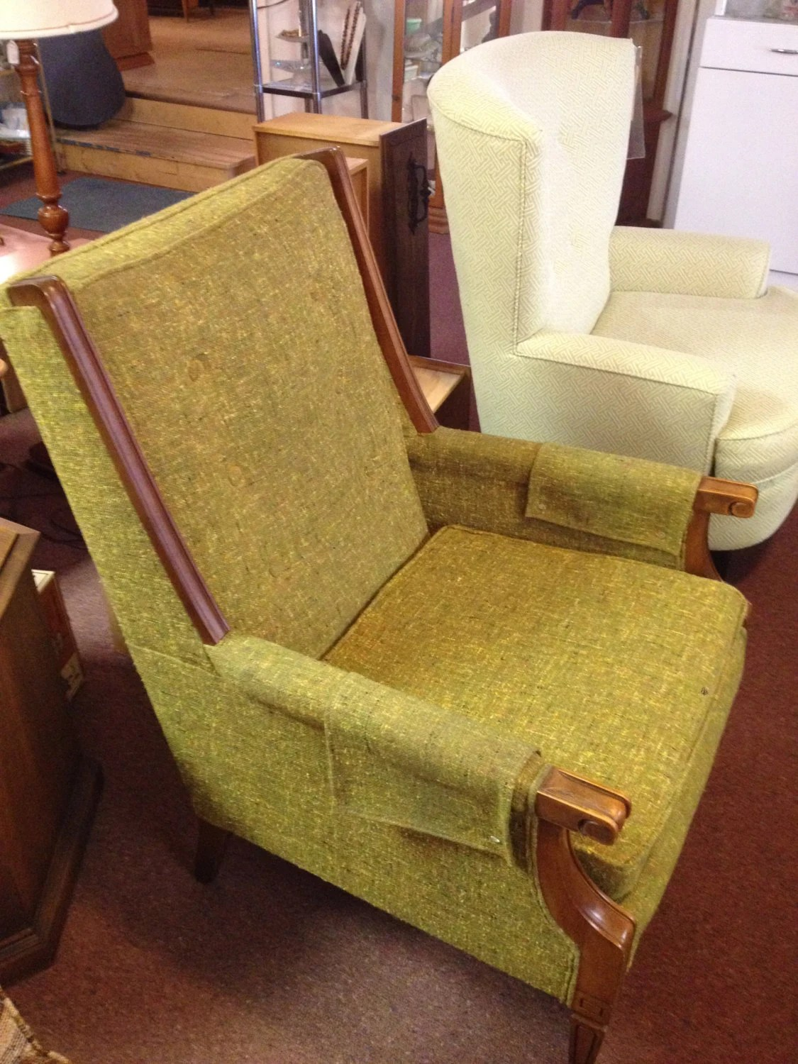 olive green accent chair best for long pc gaming sessions retro avocado tweed arm