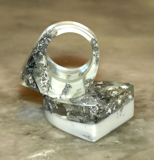 Crystal Ice Resin Rings Silver Leaf White