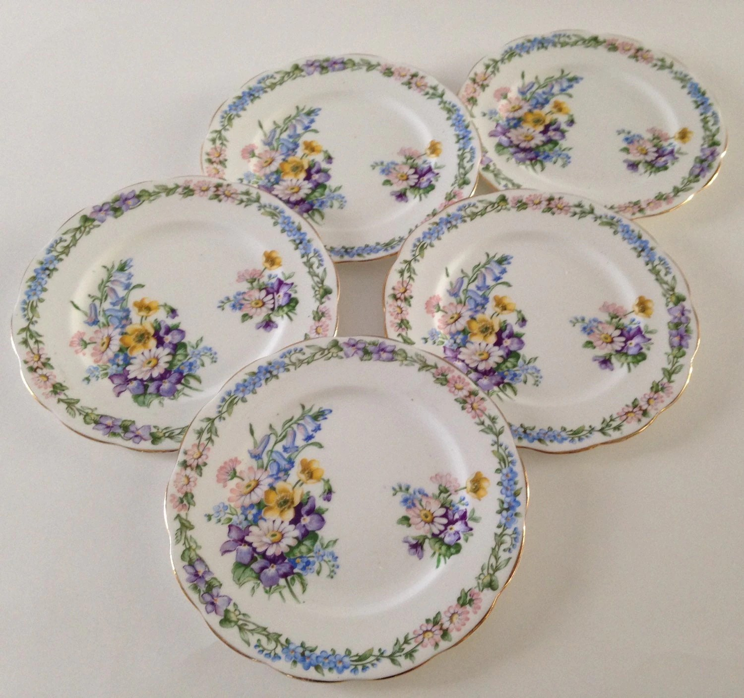 Set Of 5 Roslyn 6plates Made In England