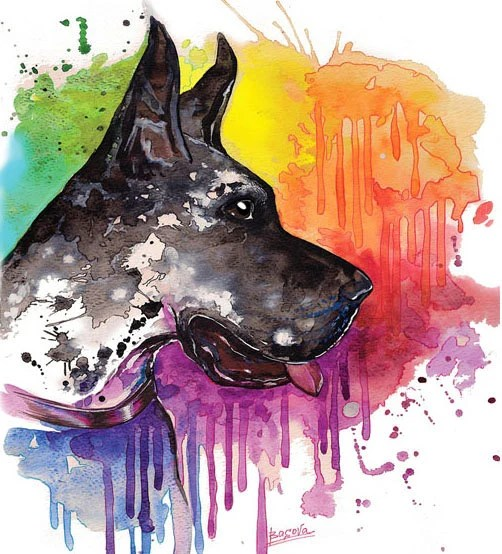 Great Dane Dog Watercolor Print Home Decor Dog Watercolor