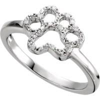 Diamond Paw Print Ring Sterling Silver