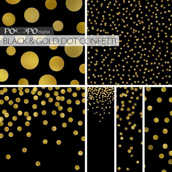 Black And Gold Digital Paper Golden Dot Design Gold Foil