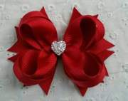 red boutique hair bow girls