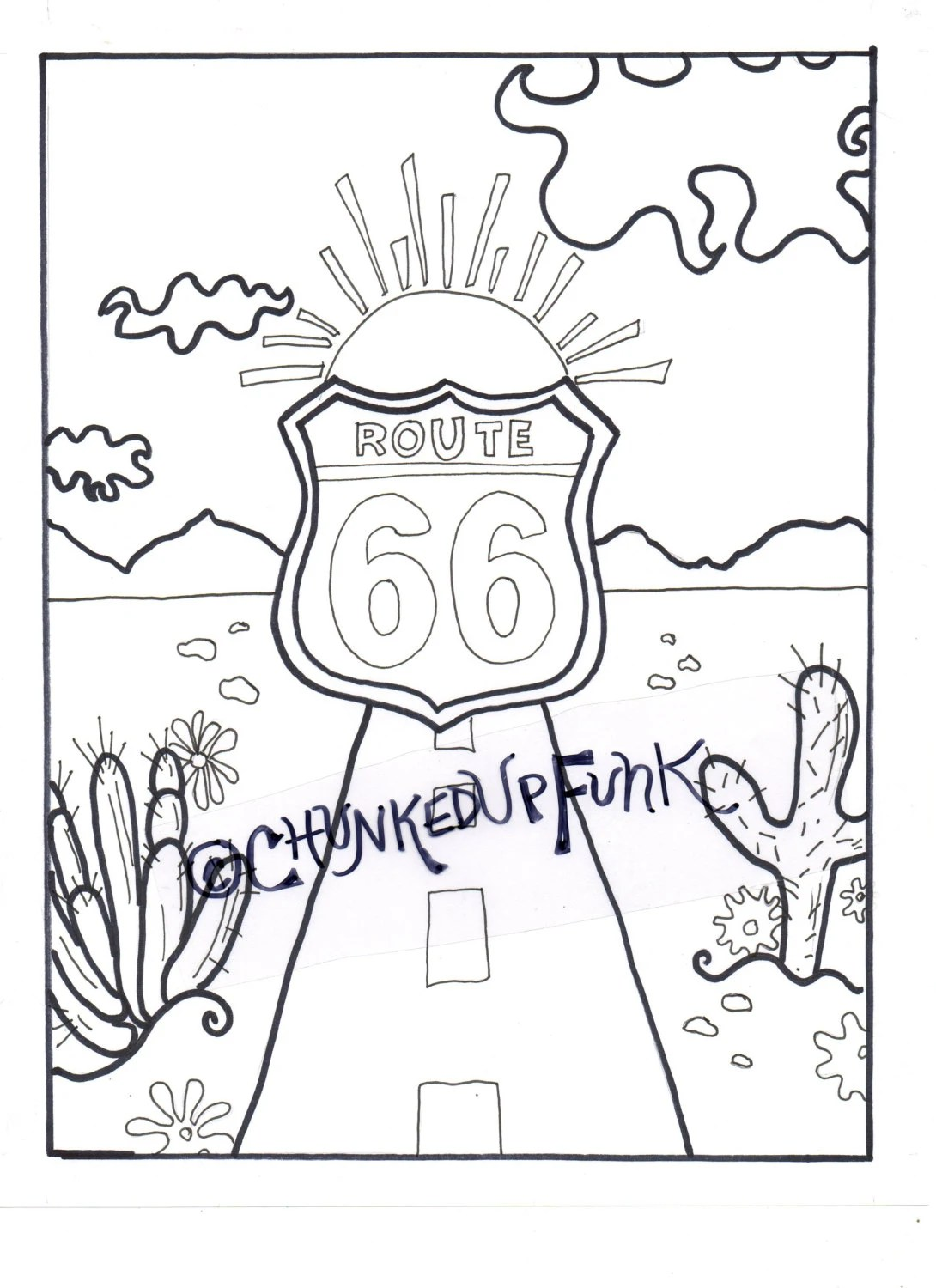 Route 66 Sign Coloring Page Coloring Pages