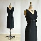 Vintage Black Cocktail Dress 1960s Wiggle