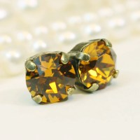 Topaz stud Earrings Yellow Topaz Crystal Earrings Yellow Topaz