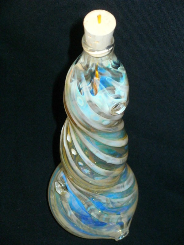 Hand Blown Glass Incense Burner Color Changing Smoking Bottle