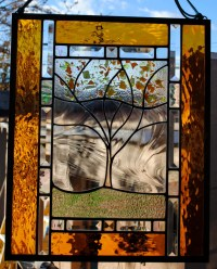 Stained Glass Window Personalized Autumn Family Tree Large