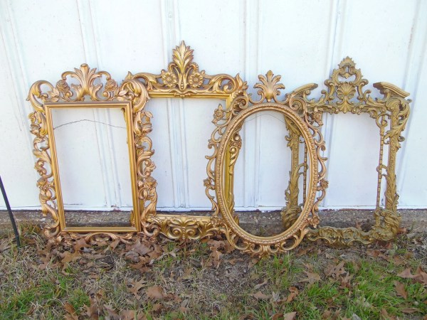 Large Gold Ornate Frame Set Syroco Mirror Frames Wall