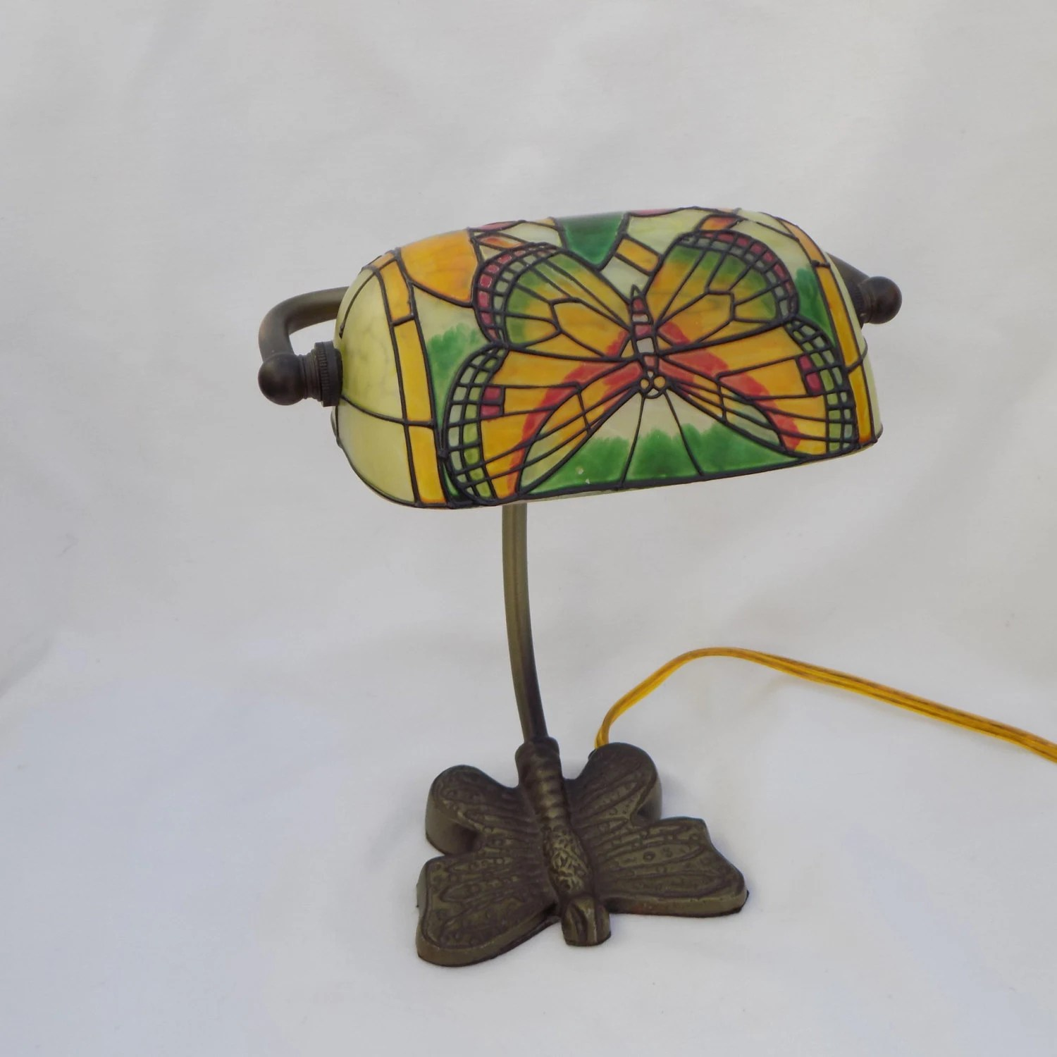 Vintage Butterfly Hand Painted Lamp Brass Base Office Desk