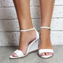 Ladies White Leather Wedge Shoes. Wedding
