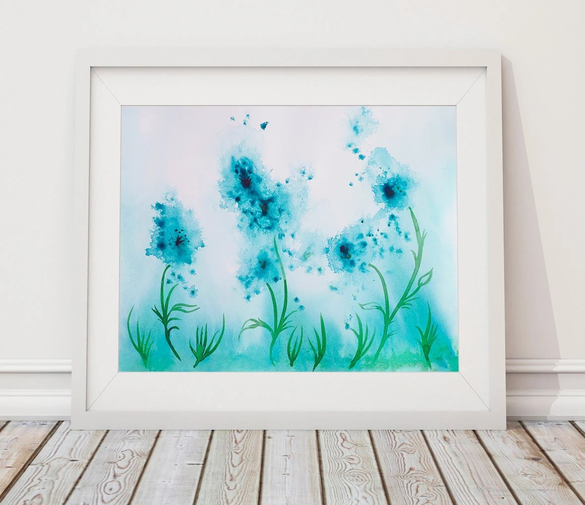Wall Art Printables Teal Artwork Abstract Flower Painting