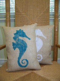 Items similar to Seahorse pillow, Beach pillow, Nautical ...