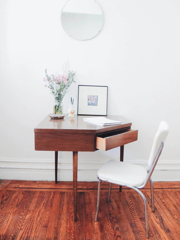 MidCentury Modern Corner Desk  Vintage Small Desk