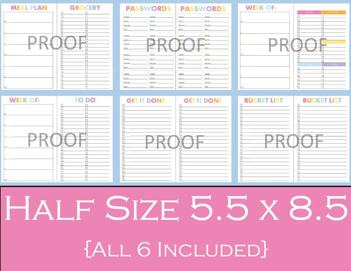Ultimate Half Size Printable Planner Bundle 5 5 X 8 5 Planner Printables Password Keeper To