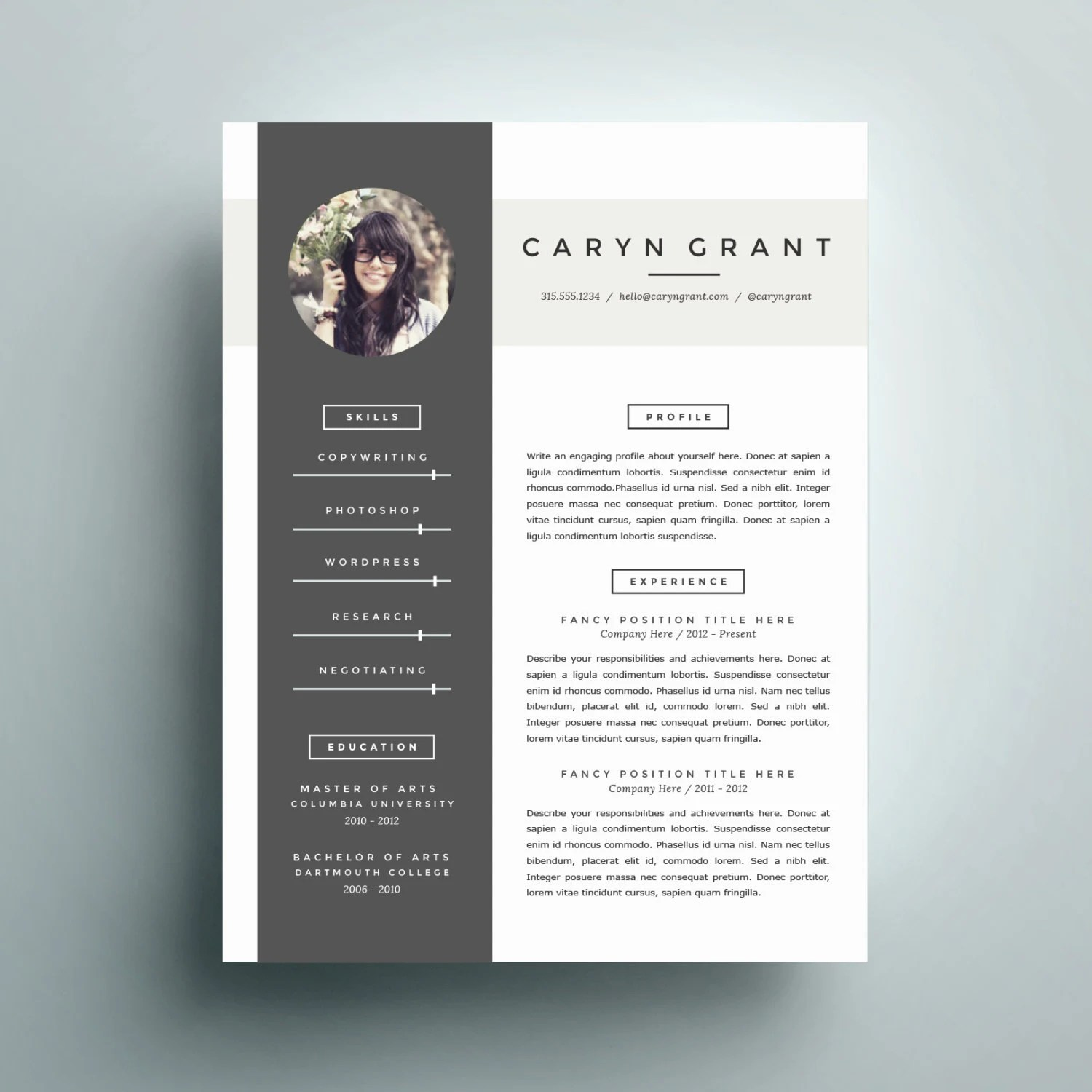 Professional Resume Template And Cover Letter Template For