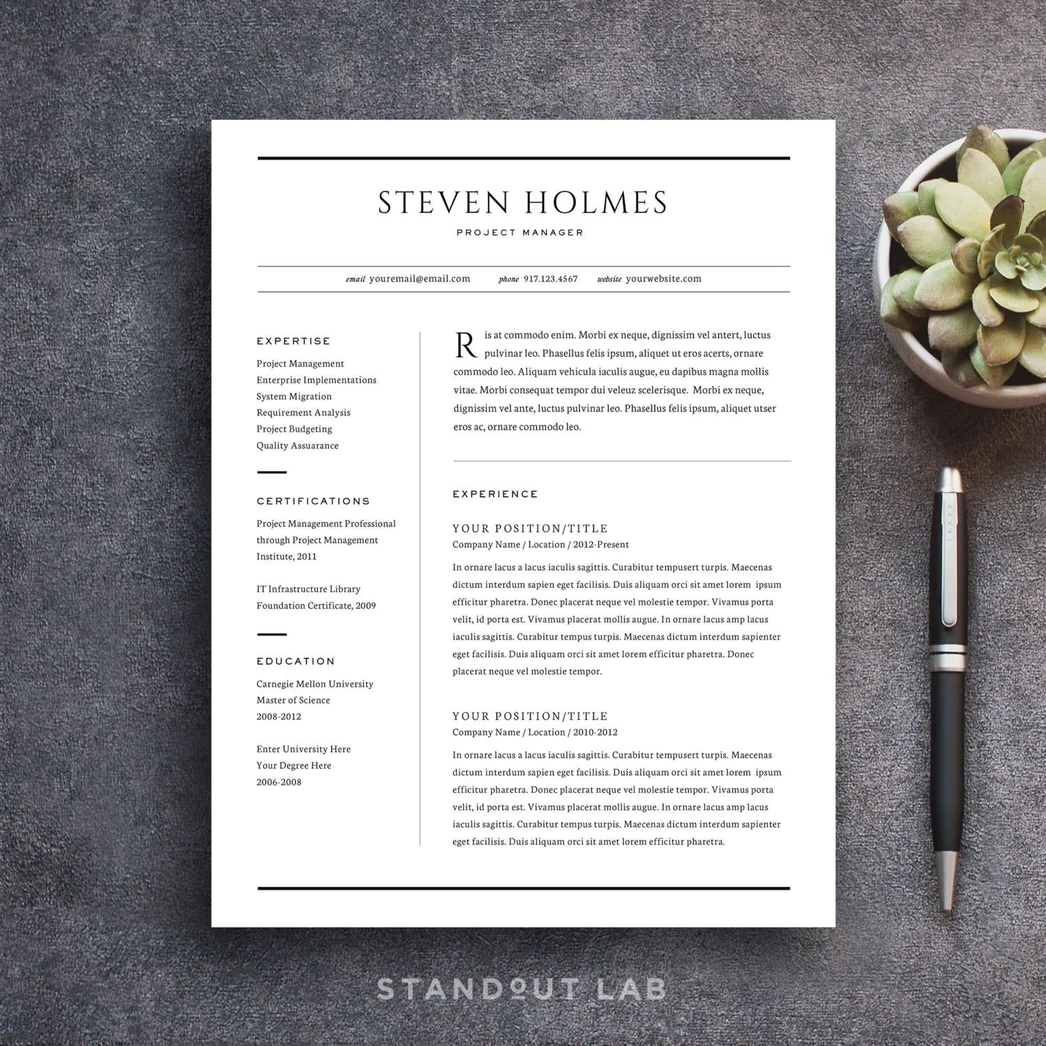 word resume templates that stand out