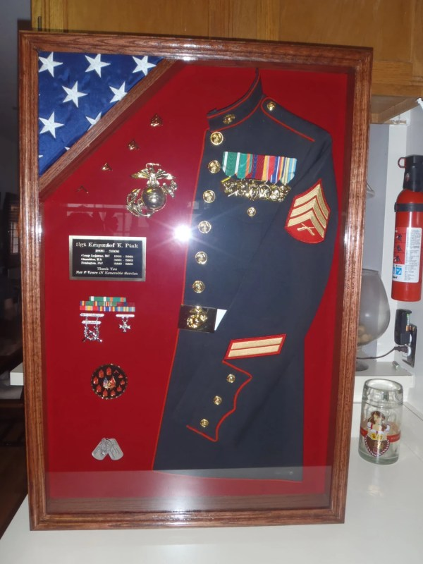 Military Uniform Shadow Box With Flag