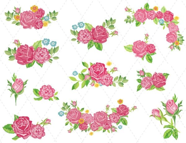 digital flower clipart pink