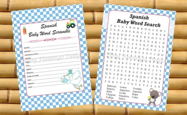 Unique Baby Shower Games Spanish Word Scramble And Word