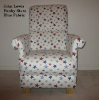 John Lewis Funky Stars Blue Fabric Adult Chair Occasional
