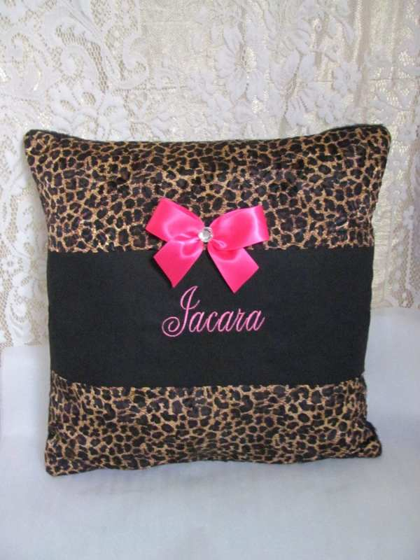 Cheetah Hot Pink Pillow Cushion Bed Bedding Free Embroidery