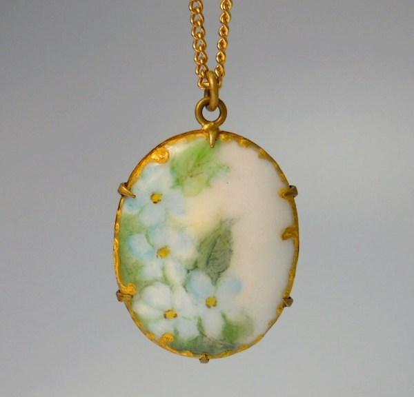 Victorian Hand Painted Porcelain Pendant Necklace