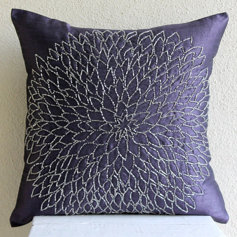 Throw Pillow Covers 20x20 Silk Bead Blue Embroidered Pillow