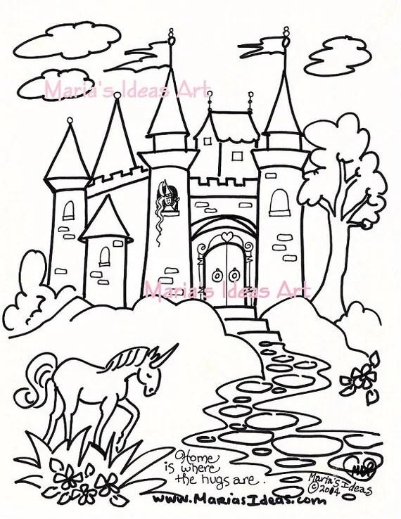 Malvorlagen Burg-Kunst für Kinder Prinzessin Schloss Kunst