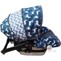 Chair Covers For Baby Round Glass Dining Table And Chairs Infant Car Seat Cover Navy Deer Silhouette