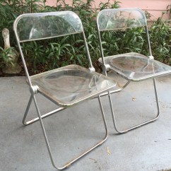 Acrylic Folding Chairs Leather Club Chair With Ottoman Two Plia Lucite Pair By Castelli Of