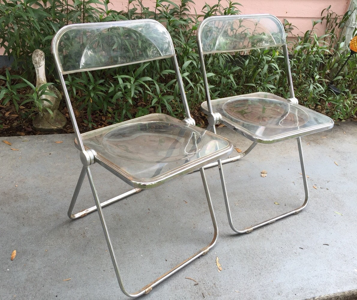Lucite Folding Chairs Two Plia Lucite Chairs Folding Chairs Pair By Plia Castelli Of