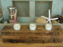 Reclaimed Pallet Wood Candle Holder Layered Bri-waxed