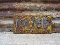 Vintage Metal License Plate Antique PA Pennsylvania 1930 Blue