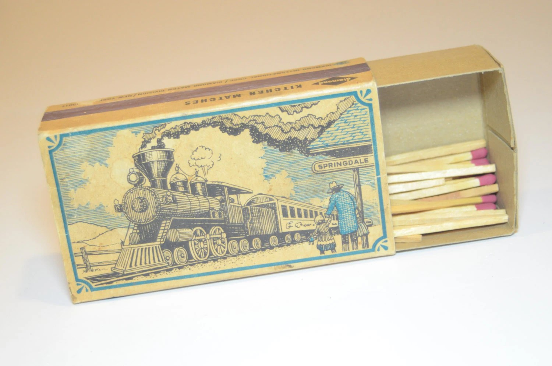 Vintage Diamond Kitchen Matches Box with Railroad Station
