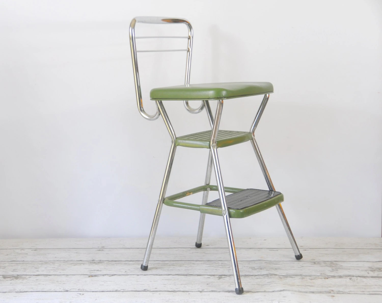 retro chair step stool counter height computer vintage cosco flip up seat booster 1950s good