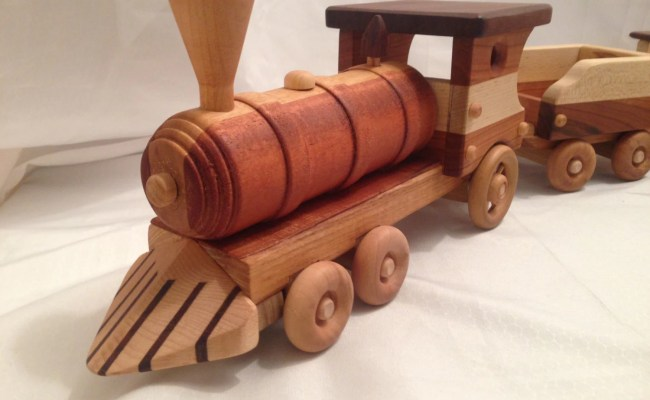 Wooden Toy Steam Locomotive Train Set With By Grampswoodtoys