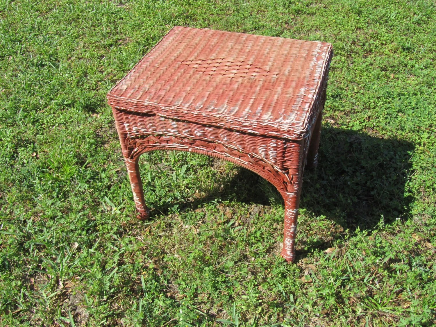 Red Chippy Paint Wicker Side Table, Small Wicker Table